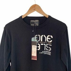 Jack Jones Men Size L Sweater Knit Cotton Logo Black